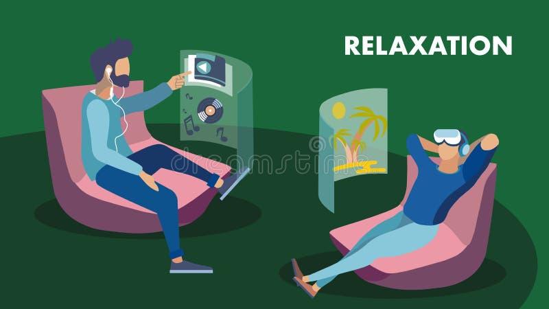 Biznesowa hol strefy rzeczywistość wirtualna Relaksuje sztandar ilustracji