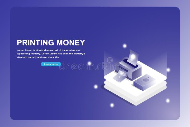 Biznesowa i pieniężna lądowanie strona Isometric 3D drukarki pomysł pieniądze odizolowywający na futurystycznym błękitnym tle ilustracji