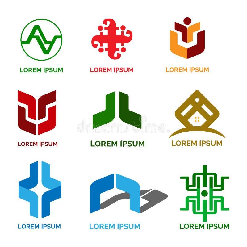 Biznesowa i Przemysłowa logo projekta paczka ilustracja wektor