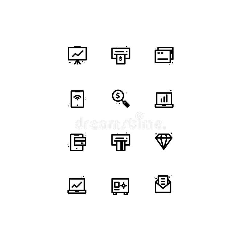 Biznesowa ikona setów konturu linia royalty ilustracja