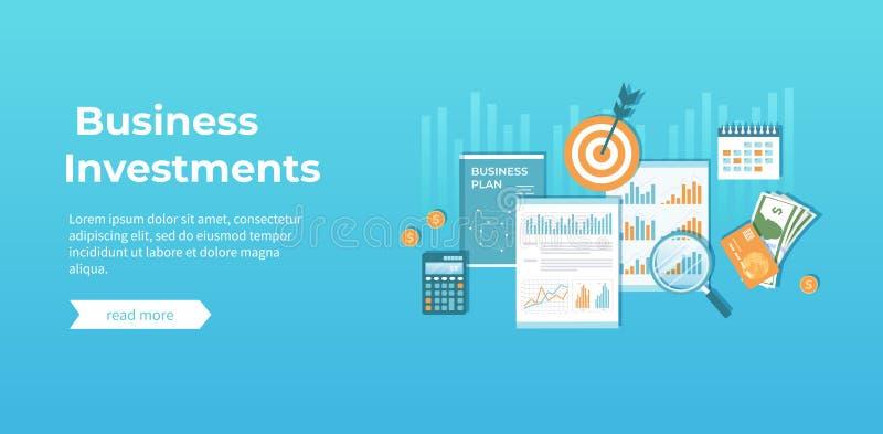 Biznesowa inwestycja, pieniężny planowanie, strategia, zarządzanie Diagrama wykresu mapa na dokumentach, plan biznesowy, pieniądz ilustracja wektor