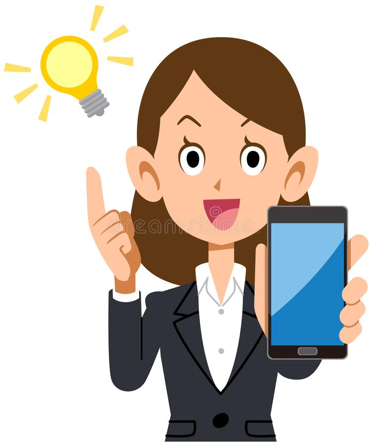 Biznesowa kobieta Błyśnie z Smartphone ilustracji