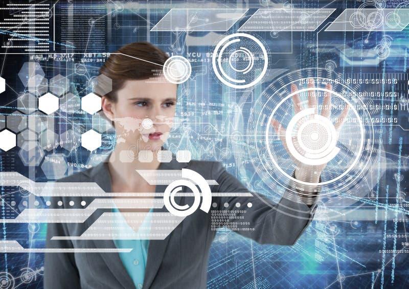 Biznesowa kobieta dotyka ekran w futurystycznym pokoju z białym interfejsem ilustracja wektor
