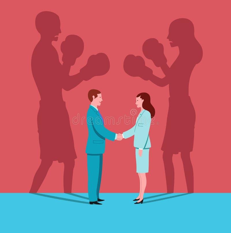Biznesowa kobieta i mężczyzna trząść ręki w miejsce pracy podczas gdy ich cienie stawiają czoło each inny jak boksery ilustracja wektor