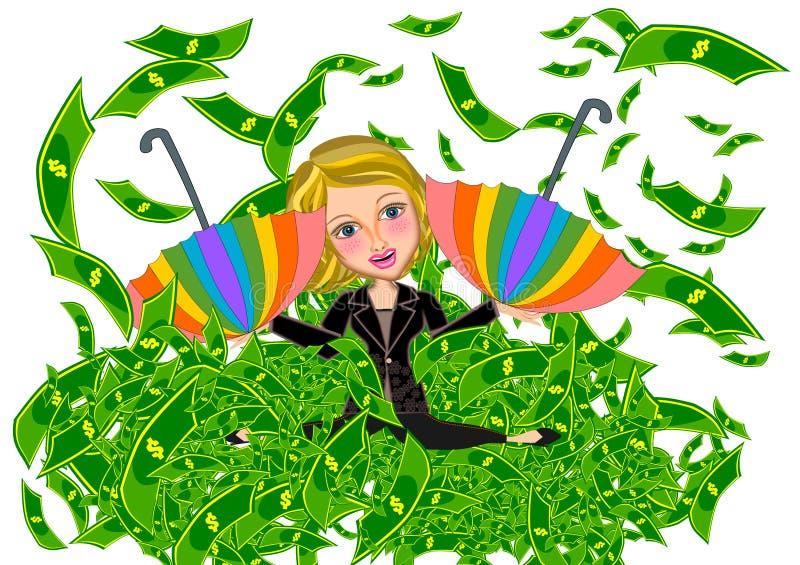Biznesowa kobieta i pieniądze podeszczowa ilustracja ilustracji