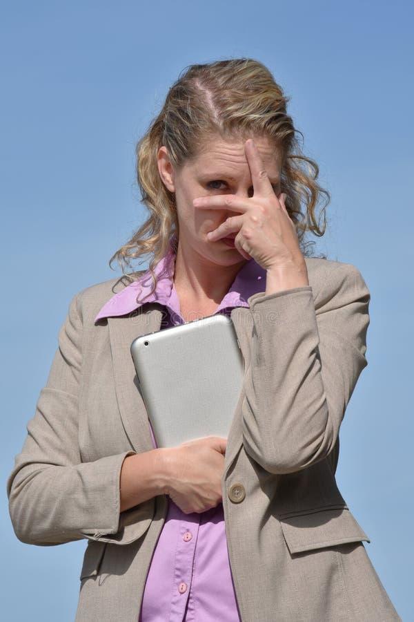 Biznesowa kobieta I strach Jest ubranym kostium zdjęcia stock