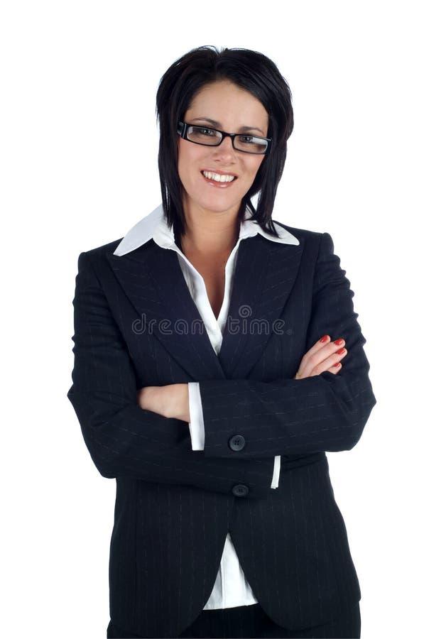 Biznesowa kobieta ja target378_0_ przy kamerą obraz royalty free