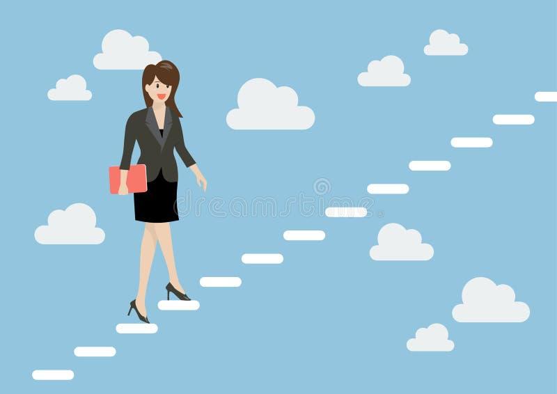 Biznesowa kobieta kroczy up schody w niebie ilustracja wektor
