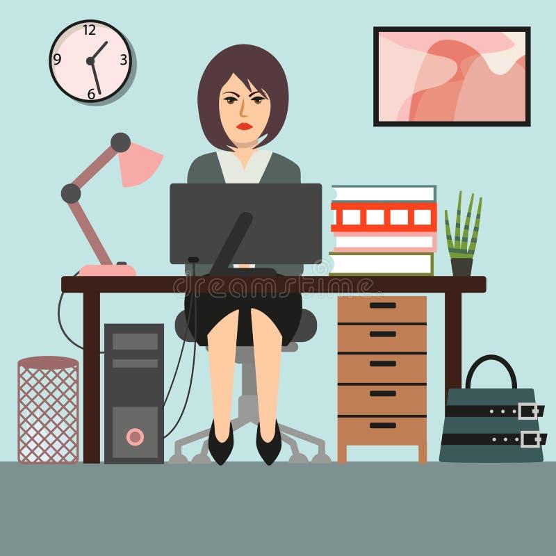 Biznesowa kobieta lub sekretarka przy pracować biurowego biurko royalty ilustracja