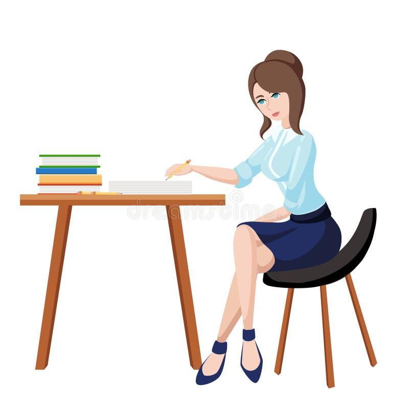 Biznesowa kobieta lub urzędnik pracuje przy jej biurowym biurkiem Mieszkanie stylowa ilustracja ilustracja wektor