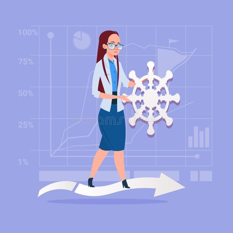 Biznesowa kobieta Mienie Kierownica Lider Firma ilustracja wektor