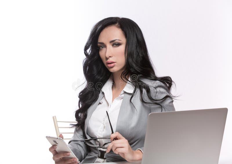 Biznesowa kobieta na białym tle zdjęcia stock