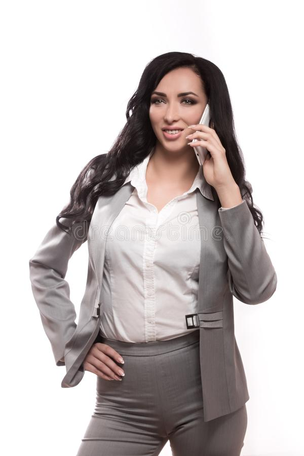 Biznesowa kobieta na białym tle w klasyku odziewa zdjęcia stock