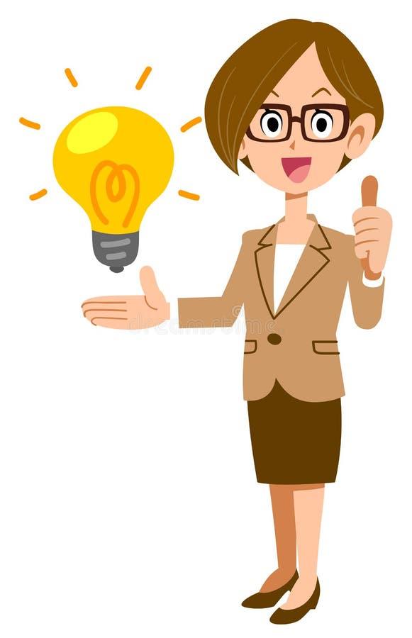 Biznesowa kobieta Ocenia pomysły, szkła royalty ilustracja