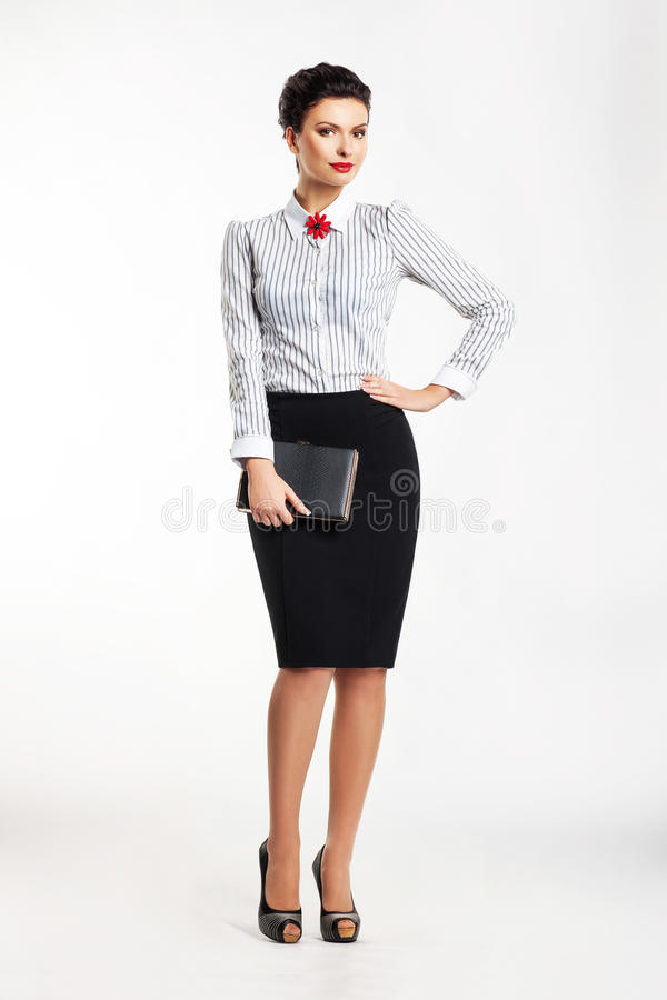 Biznesowa kobieta odizolowywająca nad biały tłem fotografia royalty free