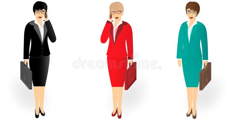 Biznesowa kobieta opowiada na telefonie komórkowym w długim z teczką ilustracji