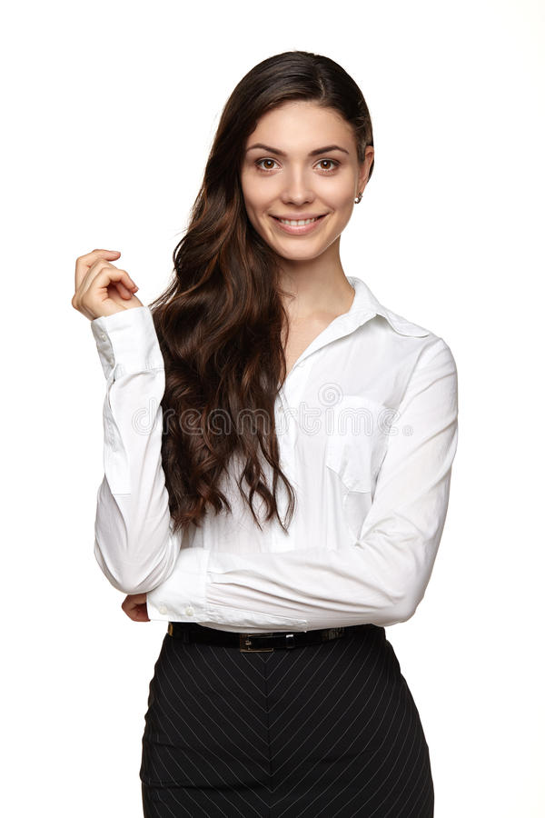 Biznesowa kobieta patrzeje ono uśmiecha się i kamerę zdjęcia royalty free