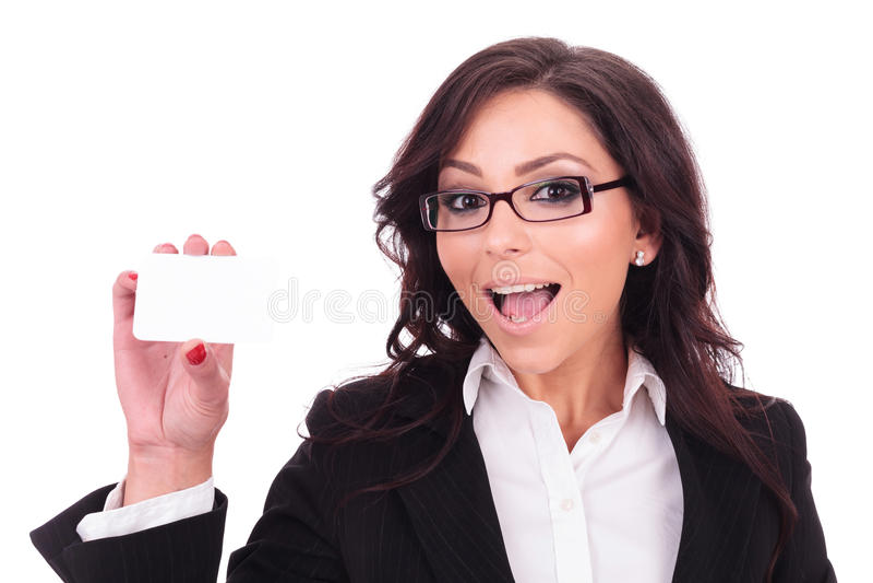 Biznesowa kobieta pokazuje empy kartę zdjęcia royalty free