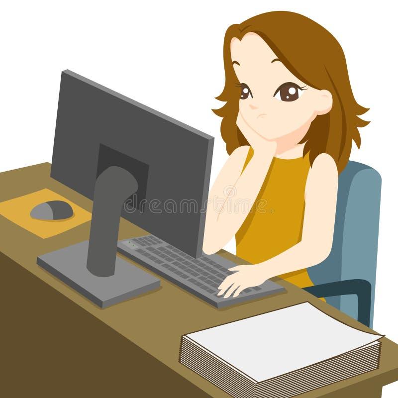 Biznesowa kobieta pracuje na komputerze stacjonarnym ilustracja wektor