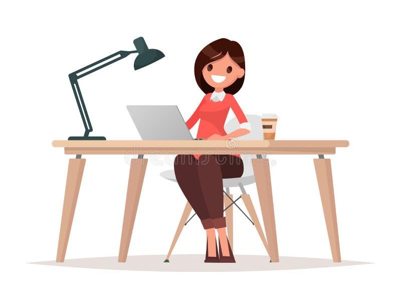 Biznesowa kobieta przy biurkiem pracuje na laptopie royalty ilustracja