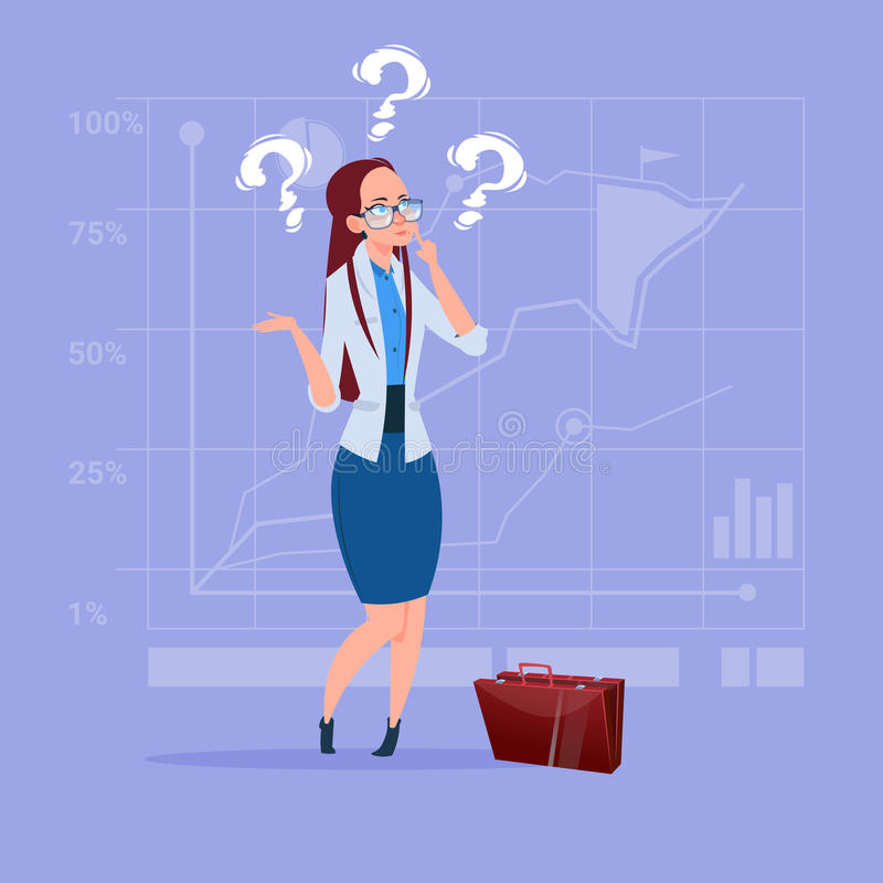 Biznesowa kobieta Rozpamiętywa Problemowego pojęcie Z znakiem zapytania ilustracji