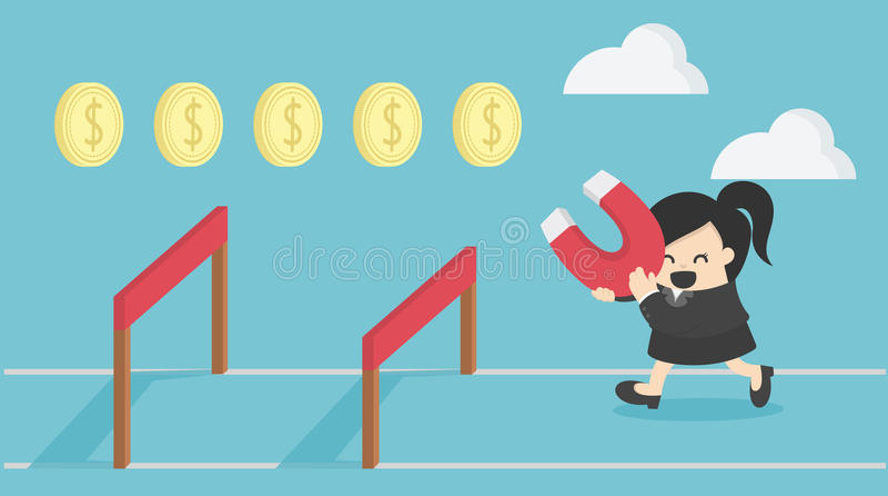 Biznesowa kobieta skacze nad przeszkodą, biznes, wyzwanie, ryzyko royalty ilustracja