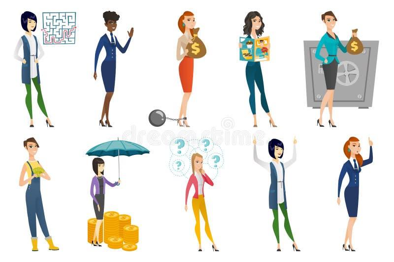 Biznesowa kobieta, stewardesa, doktorski zawodu set royalty ilustracja