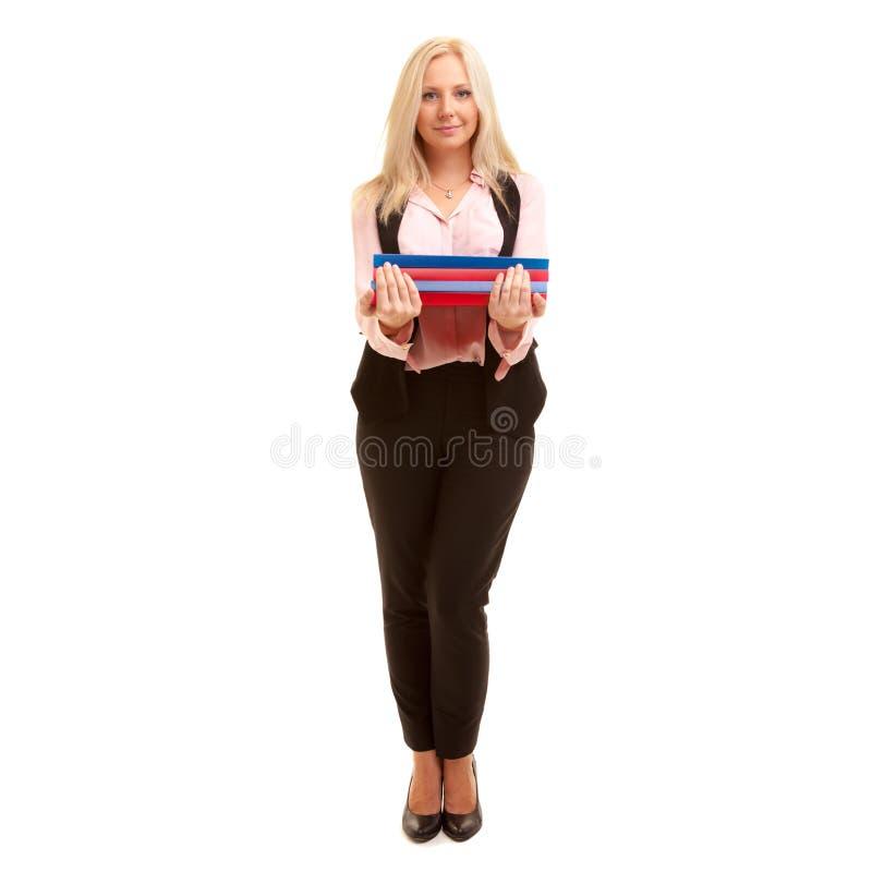 Biznesowa kobieta trzyma kolorowe falcówki fotografia stock