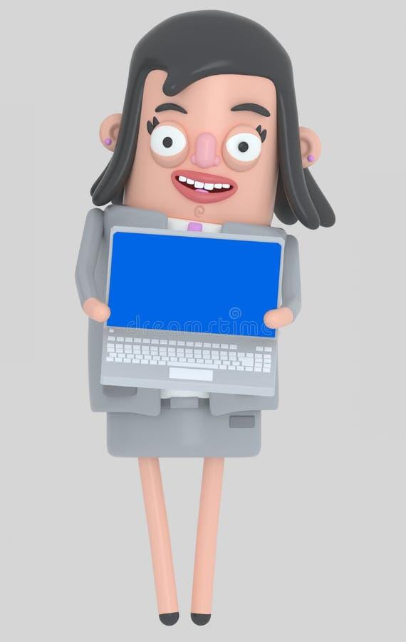 Biznesowa kobieta trzyma laptop z błękitnym ekranem odosobniony royalty ilustracja