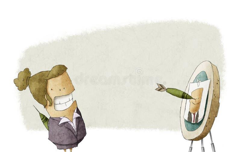Biznesowa kobieta uderza celu portreta szefa ilustracja wektor