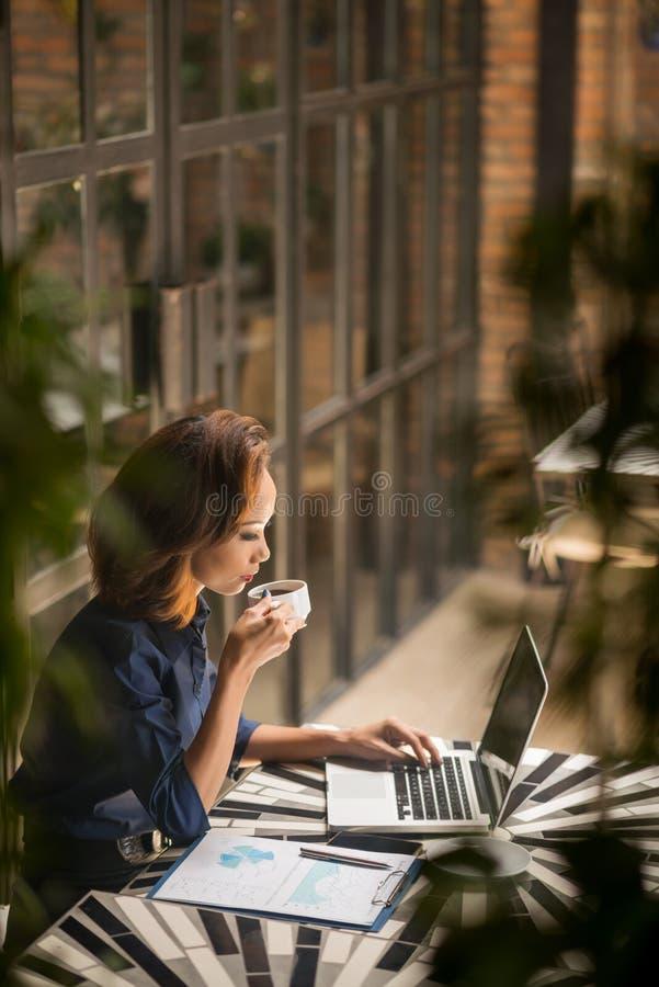 Biznesowa kobieta w kawiarni zdjęcie stock