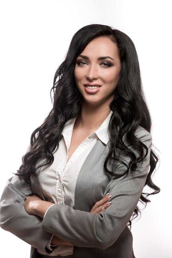 Biznesowa kobieta w klasycznym zakończenie uśmiechu obraz royalty free