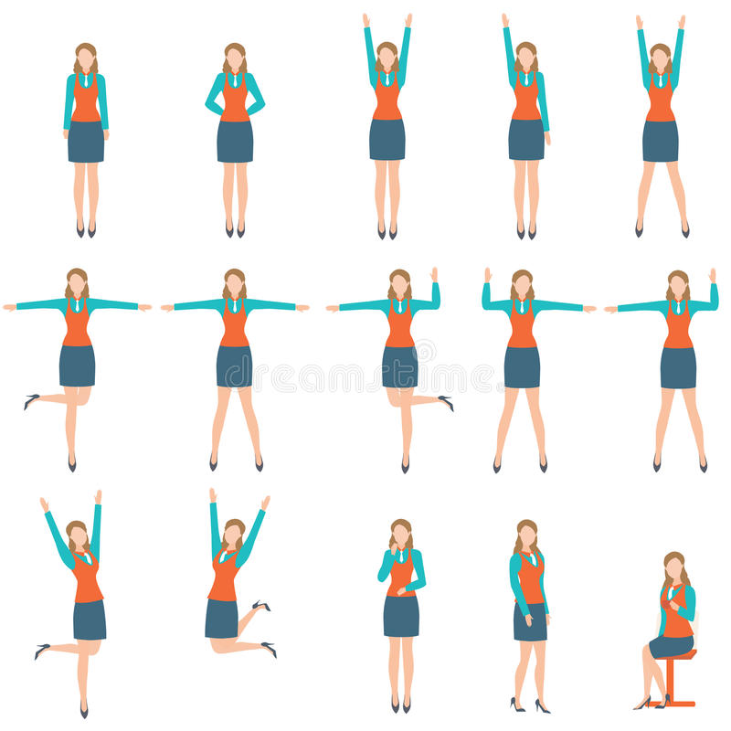 Biznesowa kobieta w różnorodnym prostym ćwiczeniu ilustracji