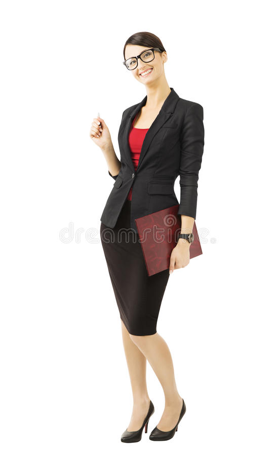 Biznesowa kobieta w szkłach, odizolowywających nad białym bac zdjęcie stock