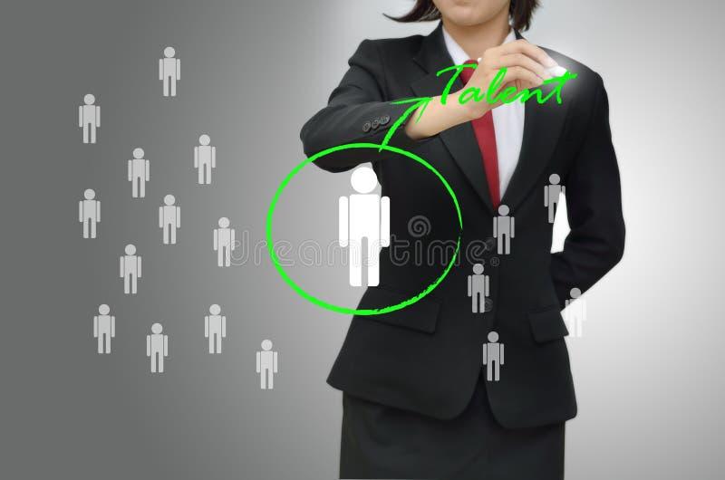 Biznesowa kobieta wybierał osoba talent (hr) ilustracji