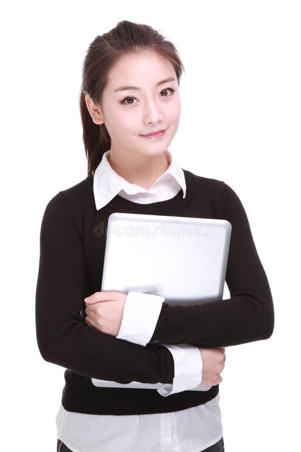 Biznesowa kobieta z komputerem fotografia stock