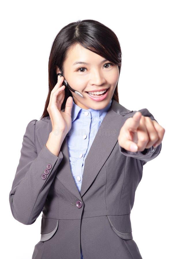 Biznesowa kobieta z słuchawki zdjęcia stock