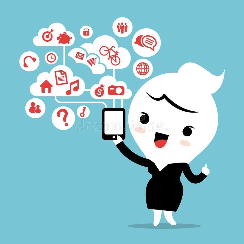 Biznesowa kobieta z smartphone przyrządu chmury socjalny siecią royalty ilustracja