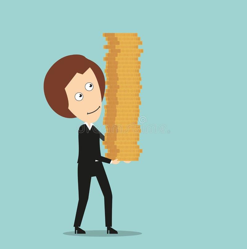 Biznesowa kobieta z stertą monety w rękach royalty ilustracja