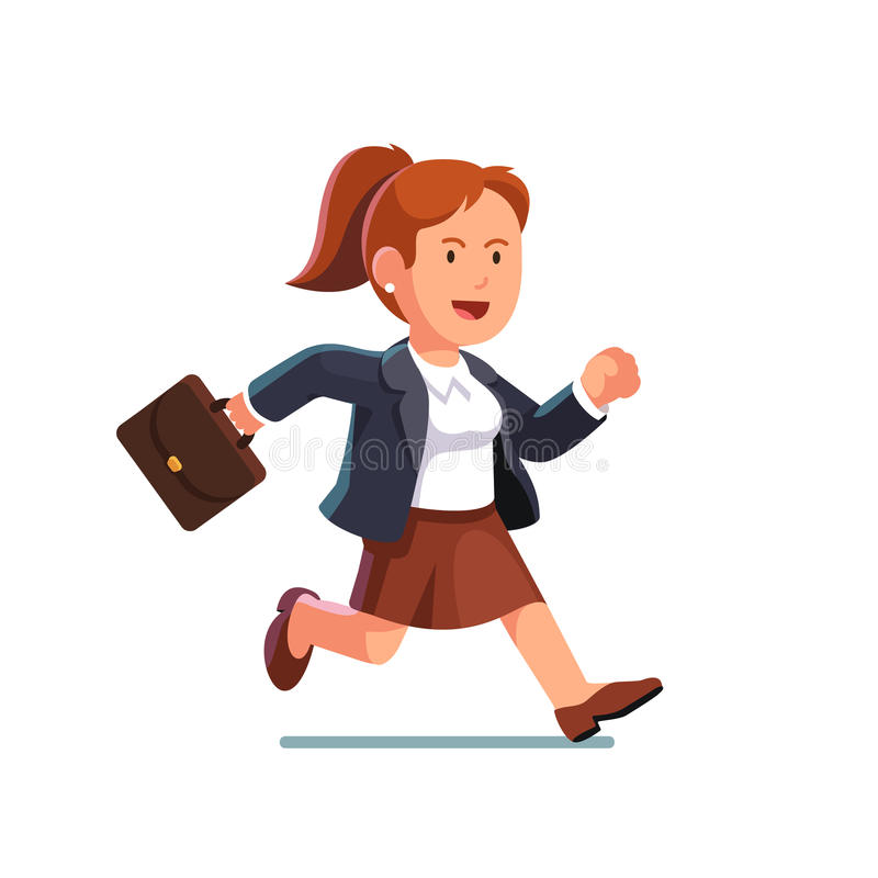 Biznesowa kobieta z teczka bieg postem ilustracji