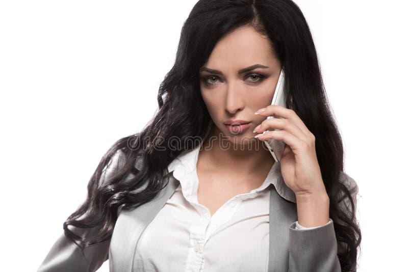 Biznesowa kobieta z telefonem zdjęcie royalty free