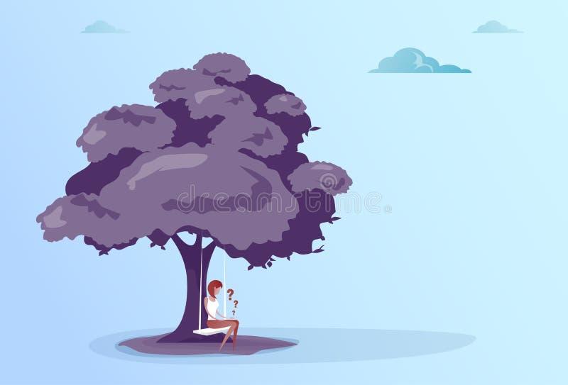 Biznesowa kobieta Z znakiem zapytania Siedzi Rozpamiętywać Pod Drzewnym Problemowym pojęciem royalty ilustracja
