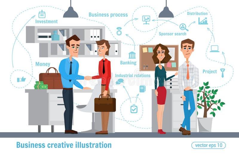 Biznesowa kreatywnie ilustracja Kobiety i mężczyzna Biznesmena charakteru urzędnika profesjonalista royalty ilustracja
