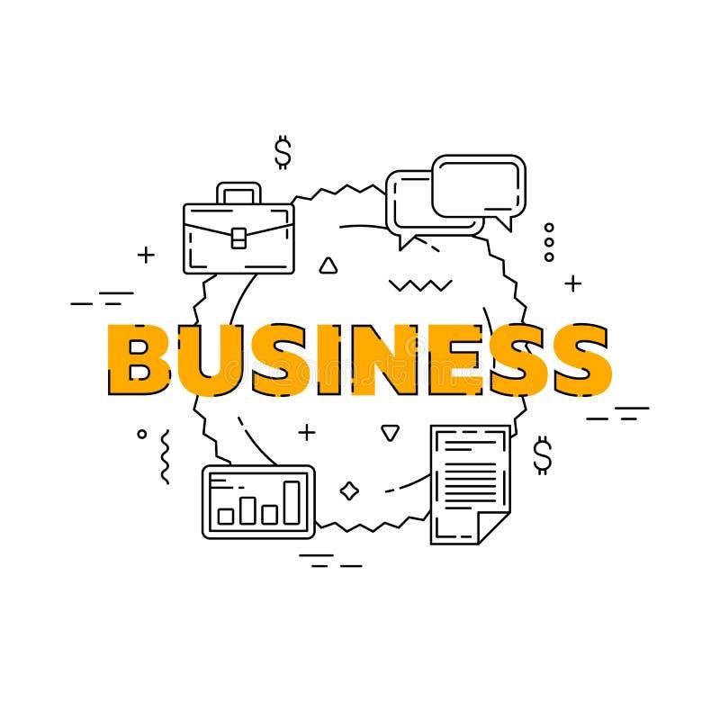 Biznesowa kreskowa ilustracja Kreskowy płaski projekt dla strony internetowej Biały nowożytny sztandar zdjęcia stock