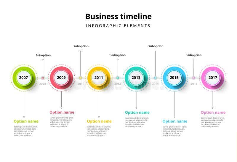 Biznesowa linia czasu w kroku okrąża infographics Korporacyjny milest royalty ilustracja