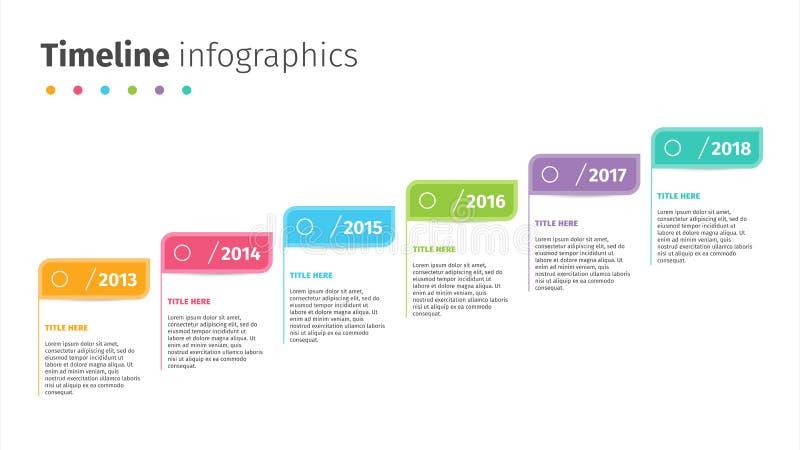 Biznesowa linia czasu z krokiem zaznacza infographics Korporacyjni kamień milowy grafiki elementy Firmy prezentaci obruszenia sza royalty ilustracja