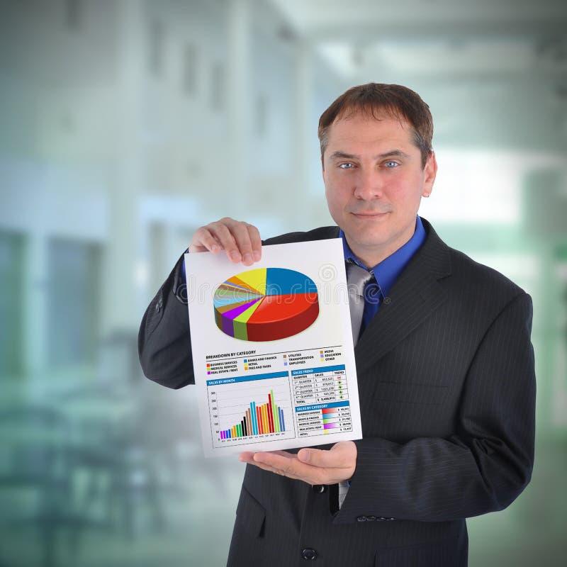 Biznesowa Mężczyzna Mienia Wykresu Mapa obraz stock