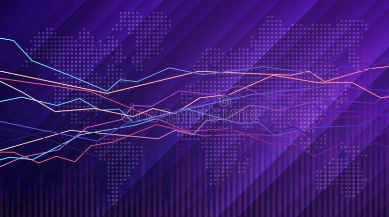 Biznesowa mapa i wykres z światową mapą robić kwadratowi kształty ilustracja wektor