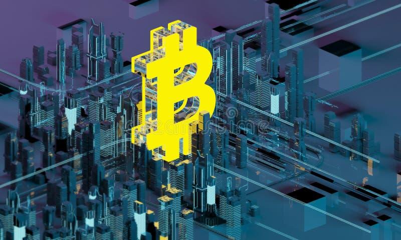 Biznesowa miasta bitcoin 3D ilustracja bitcoin symbolu Złoty listowy b w pierścionku na tle program ilustracji