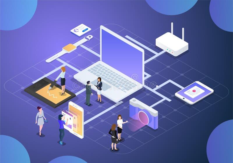 Biznesowa nauki technologii wektoru ilustracja ilustracji